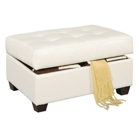White Leather Storage Ottoman Poundex Bobkona Marla Leather Storage Ottoman In White F7388