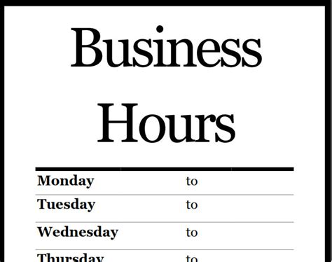 business hours sign template business hours template business letter template