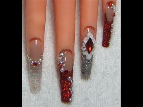 fotos de uñas de acrilico rojas u 241 as de acrilico rojas con plata nails fashion youtube