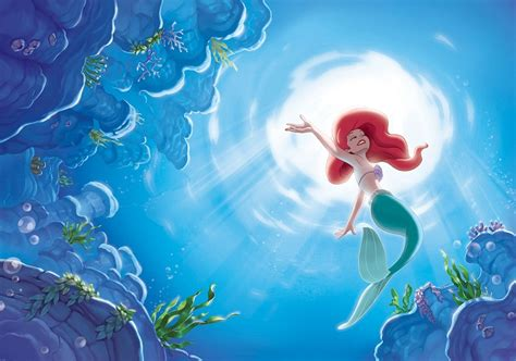 mermaid wall mural giant size wallpaper mural for girl s room disney mermaid
