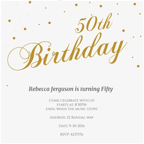 50th birthday card template 150 free printable birthday invitation card templates