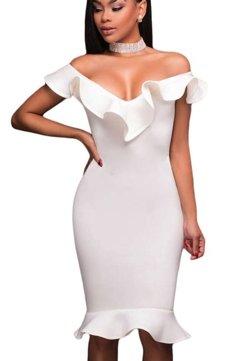 White Ruffle Sleeveless Top Size Sm white ruffle neckline sleeveless trumpet hem bodycon midi dress mb61466 1 modeshe