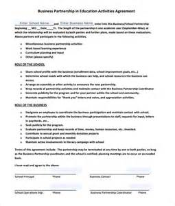 partnership agreement template business partnership agreement 8 free sles