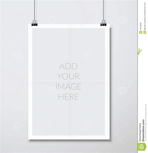 template for hanging pictures empty a4 sized vector paper frame mockup hanging with