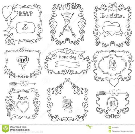 doodle templates doodle swirls frame arrows borders decor element stock