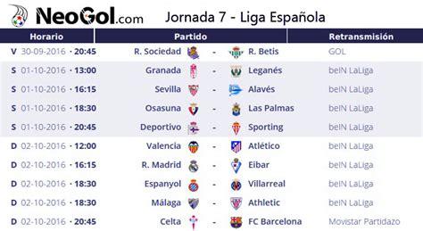 Calendario Jornada 7 Jornada 7 Liga Espa 241 Ola 2016 Laliga Santander