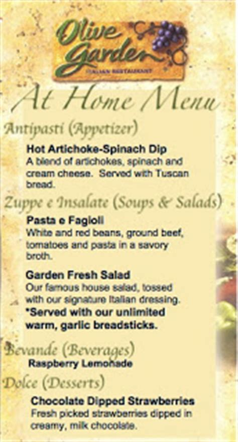 Olive Garden Children S Menu by Olive Garden Date At Home Recipes Included Six
