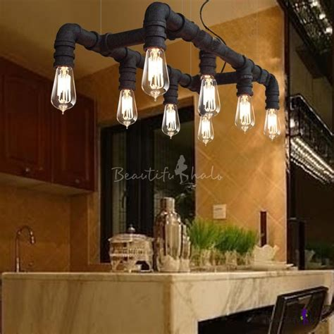 Lu Dinding New Industrial Series Xiii Wall L 8 lights two lined downward pipe black linear pendant beautifulhalo