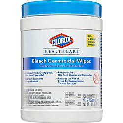clorox healthcare germicidal wipes  bleach unscented    white pack   wipes office