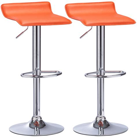 Orange Faux Leather Bar Stools by Bar Stools Set Of 2 Breakfast Kitchen Chair Stool Chrom