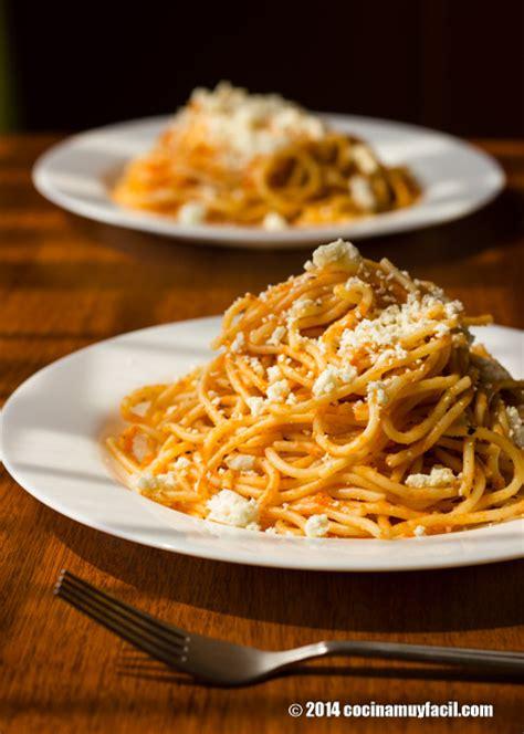 recetas de cocina net espagueti rojo receta cocina muy facil