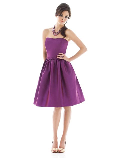 purple a line strapless zipper knee length satin prom