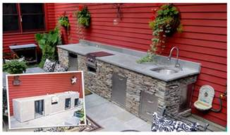 how build outdoor kitchen island building and shaped stone facade kichen with sink beer dispenser