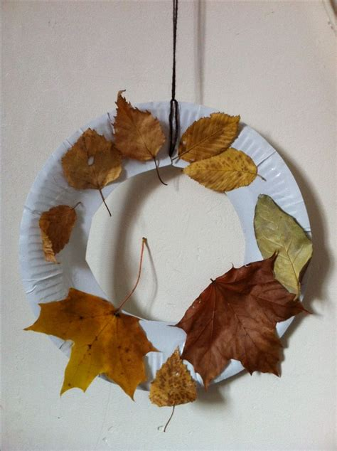 Fall Paper Plate Crafts - autumn wreath paper plate toddler craft we did this at