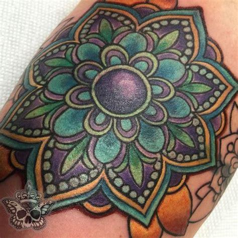 tattoo mandala cover up inkyknuckels mandala flower mandala color tattoo coverup