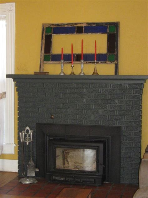 grey brick fireplace