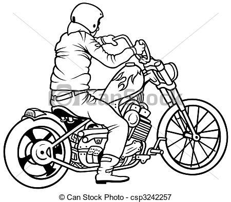 Motorrad Videos Pässe by Motorcycle And Driver Hand Drawn Illustration