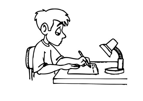 girl writing coloring page coloring page writing homework img 12158