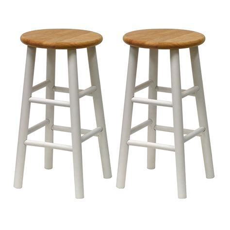 White And Brown Bar Stools White Wooden Stool With Four Legs Also Two Layer Foot Rest