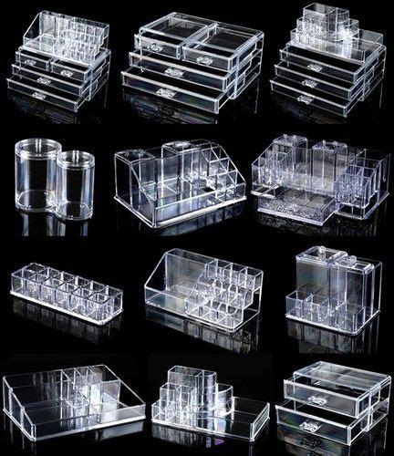 cosmetic organizer acrylic makeup cotton pad box lipstick holder clear ebay