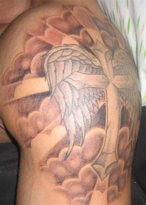 god cross tattoo flying cross with god rays and clouds picture at