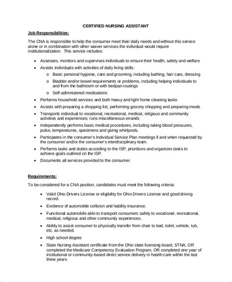 Certified Nursing Assistant Duties Resume by Nursing Assistant Resume Description Sle Cna Resume With Free Sle Resume Cover Most