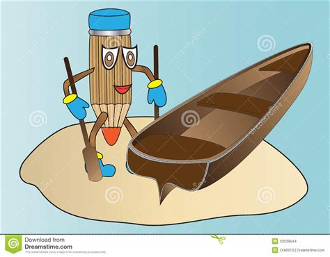cartoon rowing boat management pencil stock images image 33039544