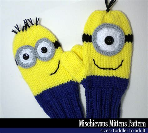 knitting pattern minion despicable me mischievous minion mittens knitting pattern knitting