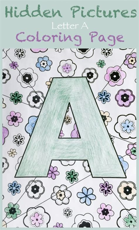coloring pages hidden letters letter a hidden pictures coloring page