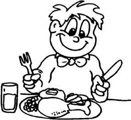 Eating Dinner Coloring Page sketch template