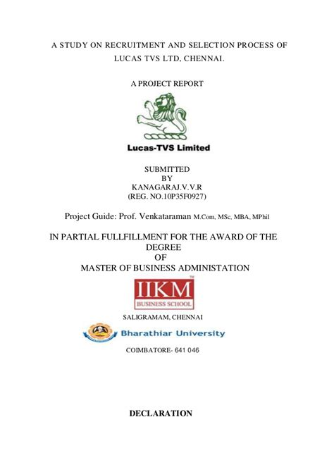 Mba Hr Project On Recruitment And Selection Pdf by A Study On Recruitment And Selection Process Of