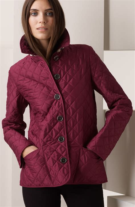 burberry brit quilted jacket in purple