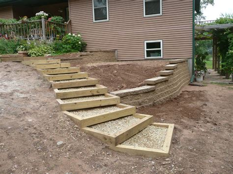 landscaping stairs enclosed gravel and wood steps for between the driveway