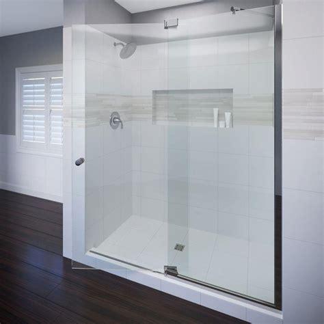 Frameless Shower Door Handle Basco Cantour 54 In X 76 In Semi Frameless Pivot Shower Door In Chrome With Handle Cana 935