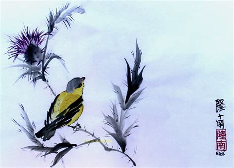 goldfinch amp thistle flower japanese brush painting