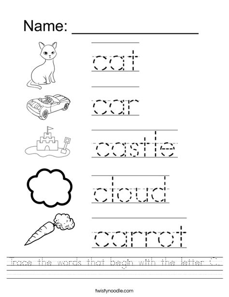 Word Tracing Worksheets trace the words that begin with the letter c worksheet