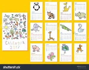 Doodle Calendario Calendar 2017 Doodle Animals For Every Month Vector