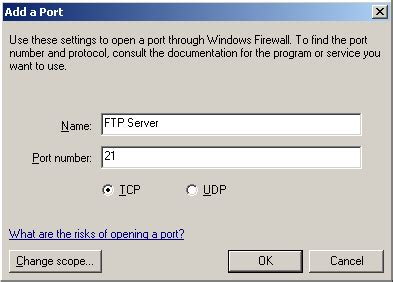 ftp port 20 open ftp port 21 on windows xp operating system