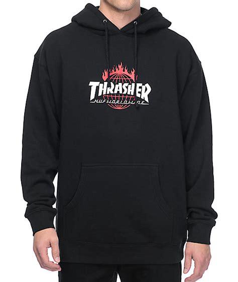 Thrasher Hoodie Black huf x thrasher tds black pullover hoodie at zumiez pdp