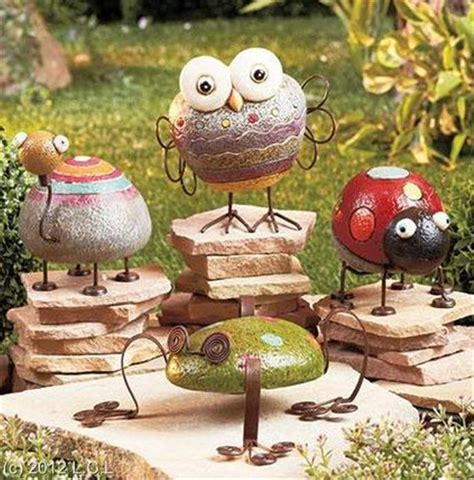 Frog Garden Decor Whimsical Rock Look Painted Garden Decor Figurines W Metal Accents Frog Turtle Ebay