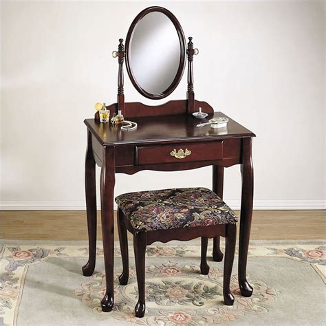 wood bedroom vanity powell furniture heirloom cherry wood makeup vanity table