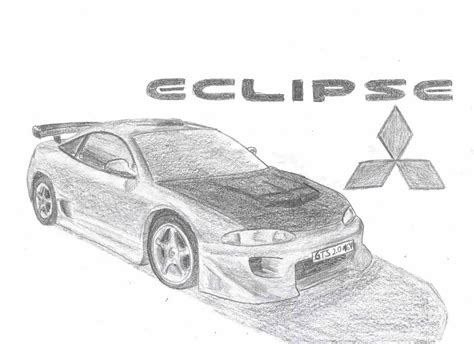 mitsubishi eclipse drawing how to draw a mitsubishi eclipse car pictures