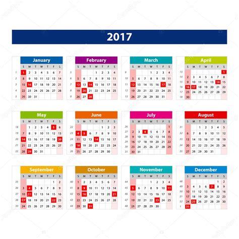 Calendario Octubre 2017 Usa 2017 日历假日美国 颜色 2017年日历图矢量模板 图库矢量图片 124038148