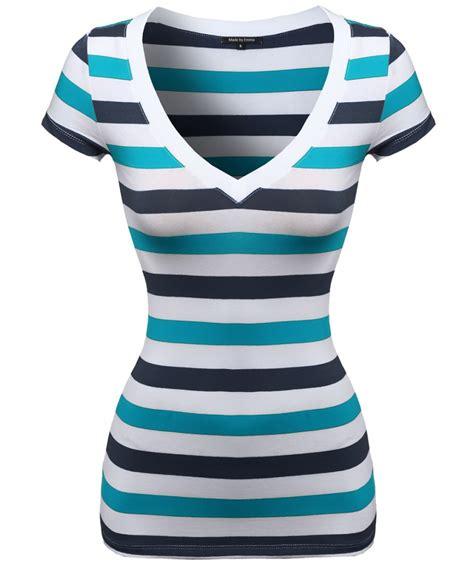 Striped Sleeve V Neck T Shirt s wide v neck stripe sleeve shirts