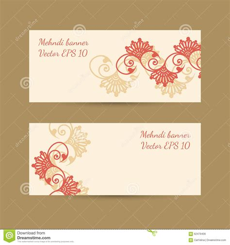 mehndi card template template set with bright decorative mehndi design for