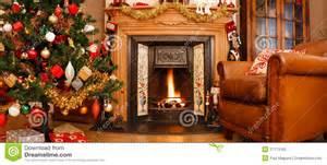 Fireside Armchair Christmas Interior Panorama Royalty Free Stock Photo