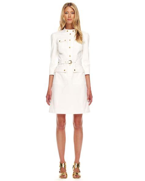 michael kors twill military dress  white lyst