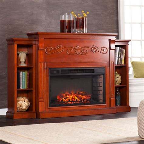 68 Quot Locksley Bookcase Classic Mahogany Electric Fireplace Electric Fireplace With Bookshelves