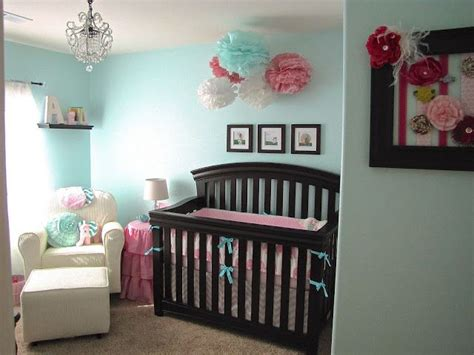 nursery colors aqua amp pink with brown furniture baby