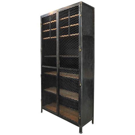 Large Industrial Mesh Doors Bookcase Iron Cabinet 1930s Cabinet Door Mesh